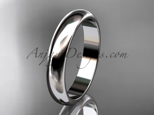14k white gold traditional 4mm wide wedding band WB50104G