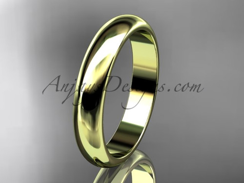 14k yellow gold traditional 4mm wide wedding band WB50104G