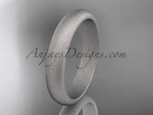 14k white matte finish gold traditional 4mm wide wedding band WB50104G