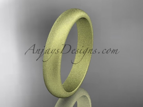14k yellow matte finish gold traditional 4mm wide wedding band WB50104G