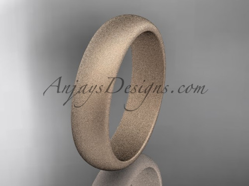 14k rose matte finish gold traditional 5mm wide wedding band WB50105G