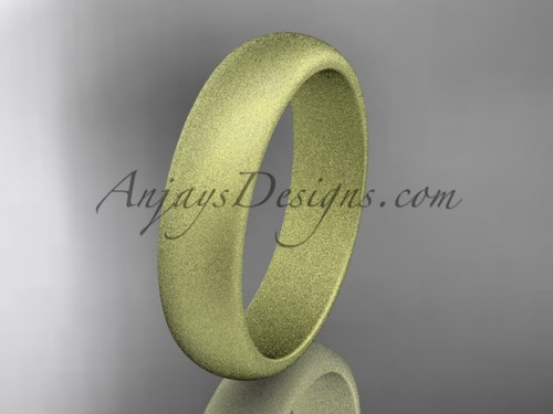 14k yellow matte finish gold traditional 5mm wide wedding band WB50105G