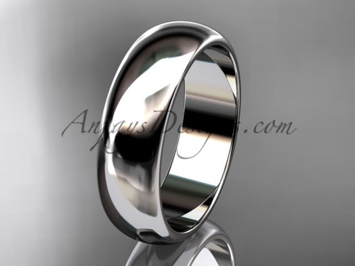 14k white gold traditional 6mm wide wedding band WB50106G