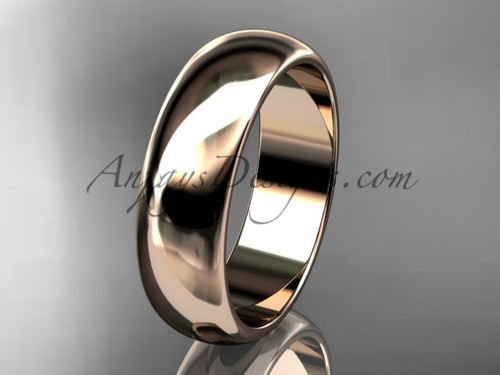 14k rose gold traditional 6mm wide wedding band WB50106G