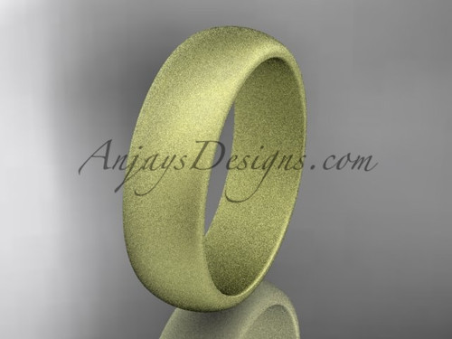 14k yellow matte finish gold traditional 6mm wide wedding band WB50106G
