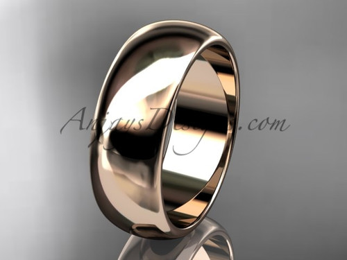 14k rose gold traditional 7mm wide wedding band WB50107G