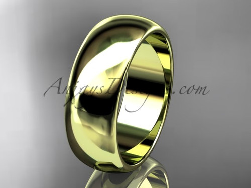 14k yellow gold traditional 7mm wide wedding band WB50107G
