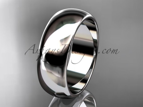Platinum traditional 7mm wide wedding band WB50107G