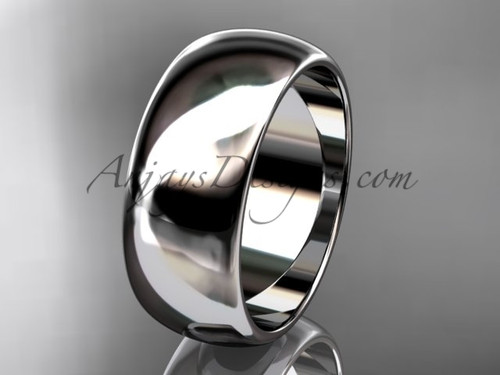 14k white gold traditional 8mm wide wedding band WB50108G
