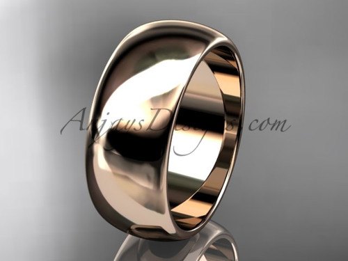 14k rose gold traditional 8mm wide wedding band WB50108G