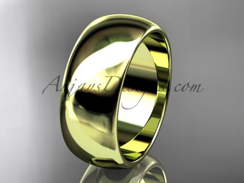 14k yellow gold traditional 8mm wide wedding band WB50108G