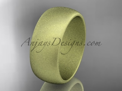 14k yellow matte finish gold traditional 8mm wide wedding band WB50108G