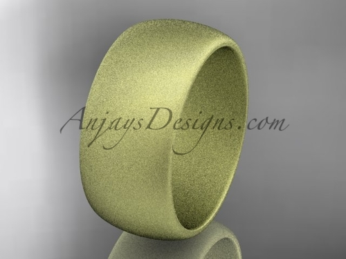 14k yellow matte finish gold traditional 9mm wide wedding band WB50109G