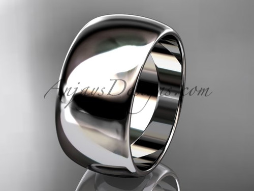 14k white gold traditional 10mm wide wedding band WB501010G