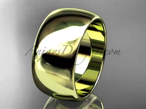 14k yellow gold traditional 10mm wide wedding band WB501010G