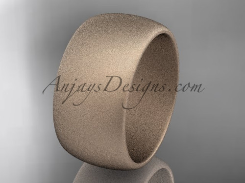 Rose matte finish gold 10mm wide wedding band WB501010G