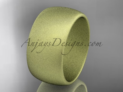 Yellow matte finish gold 10mm wide wedding band WB501010G