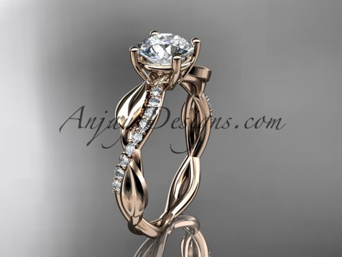 14kt Rose Gold Leaf Diamond Engagement Ring ADLR385