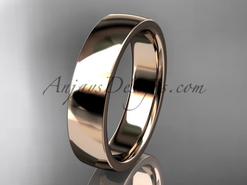 14k rose gold comfort fit 5mm wide wedding band WB50205G