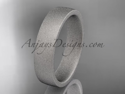 matte finish 14k white gold 5mm  comfort fit ring WB50205G