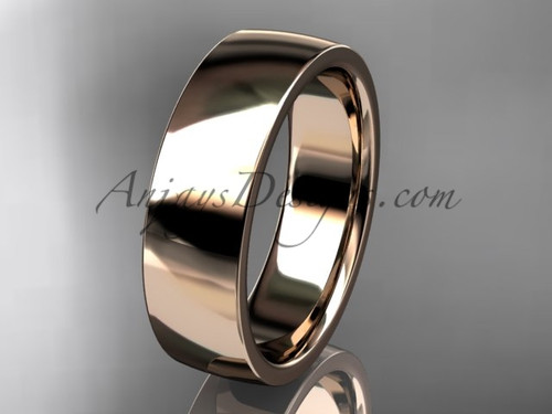 14k rose gold comfort fit 6mm wide wedding band WB50206G