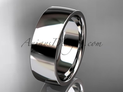 14k white gold comfort fit 7mm wide wedding band WB50207G