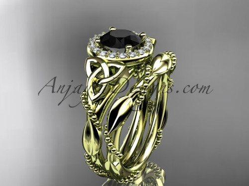 14kt yellow gold diamond celtic trinity knot wedding ring, engagement set with a Black Diamond center stoneCT7328S