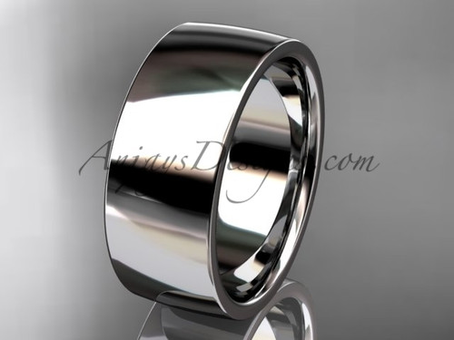 14k white gold comfort fit 8mm wide wedding band WB50208G