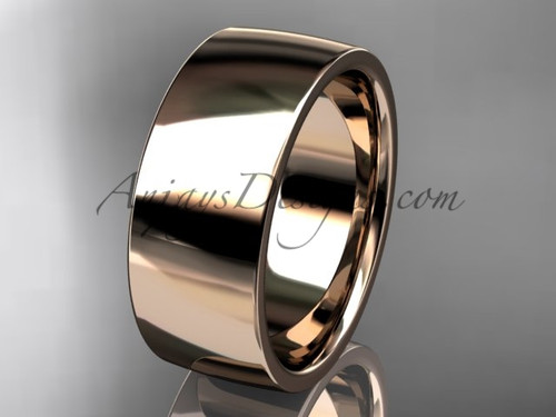 14k rose gold comfort fit 8mm wide wedding band WB50208G
