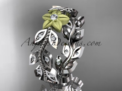 Two-Tone Wedding Rings with Diamonds - Flower Engagement Ring ADLR161B 1