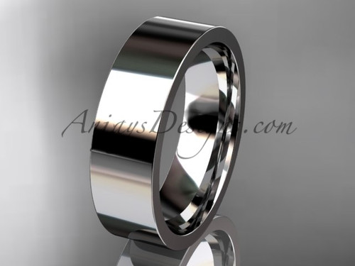 14k White Gold Plain Wedding Band 6mm WB50306G