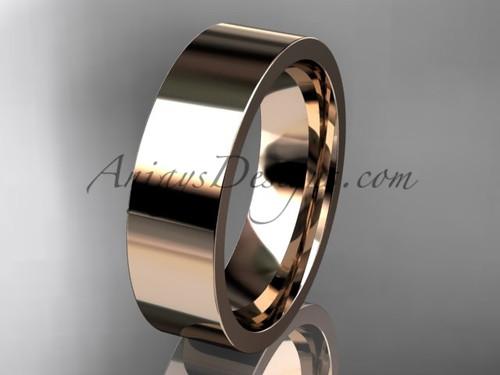 14k rose Gold Plain Wedding Band 6mm WB50306G