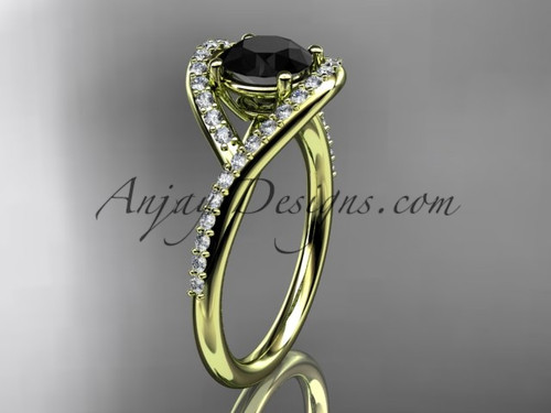 14kt yellow gold diamond wedding ring, engagement ring with a Black Diamond center stone ADLR383