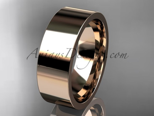 14k rose Gold Plain Wedding Band 7mm WB50307G