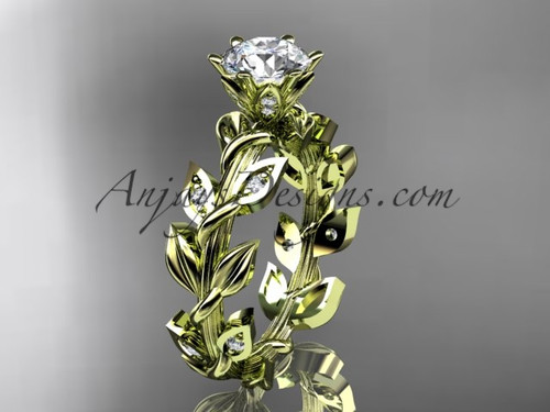Nature Inspired Rings, Yellow gold diamond Leaf Ring ADLR124