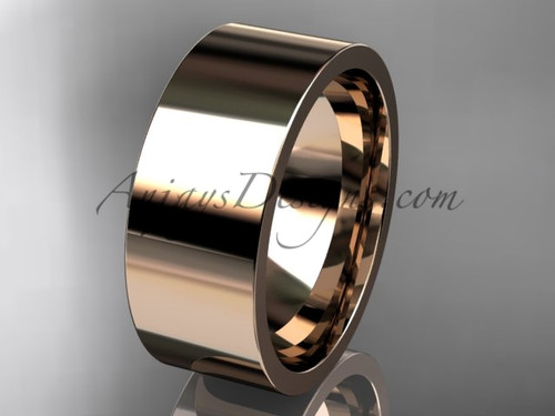 14k rose Gold Plain Wedding Band 8mm WB50308G