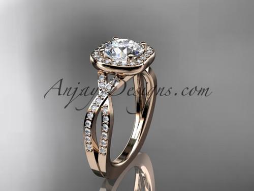 Twisted Halo Diamond Engagement Ring, 14Kt Rose Gold Wedding Ring ADER393