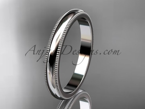 14k White Gold Milgrain Wedding Band 3mm WB50403G