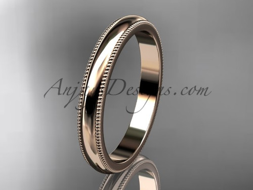14k rose Gold Milgrain Wedding Band 3mm WB50403G