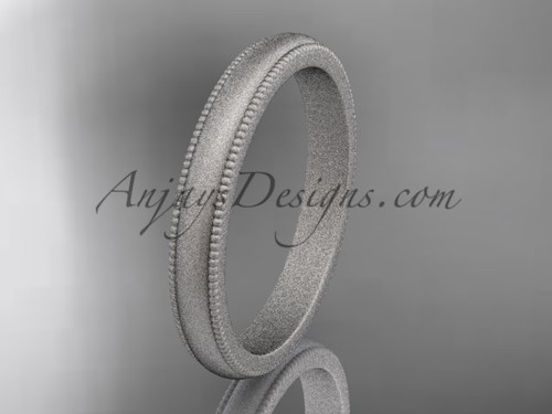 White Matte Finish Gold Milgrain Wedding Band 3mm WB50403G