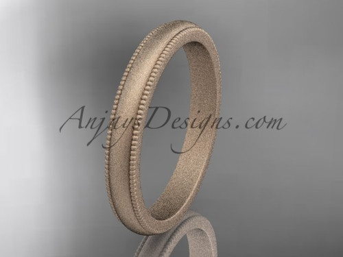 Rose Matte Finish Gold Milgrain Wedding Band 3mm WB50303G