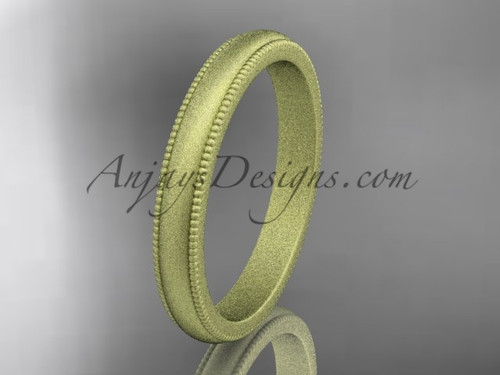 Yellow Matte Finish Gold Milgrain Wedding Band 3mm WB50403G