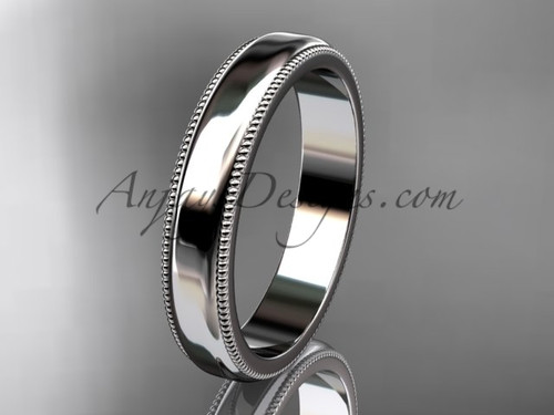 14k White Gold Milgrain Wedding Band 4mm WB50404G