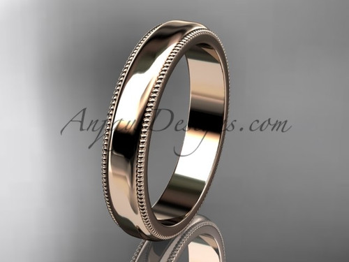 14k Rose Gold Milgrain Wedding Band 4mm WB50404G