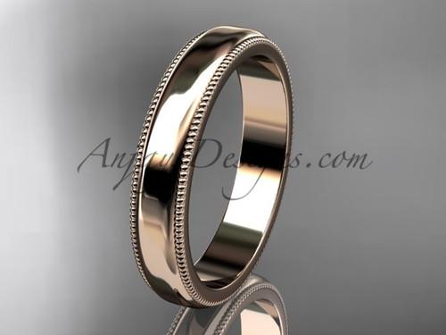 14k Rose Gold Milgrain Wedding Band 4mm WB50404G