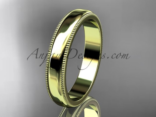 14k Yellow Gold Milgrain Wedding Band 4mm WB50404G