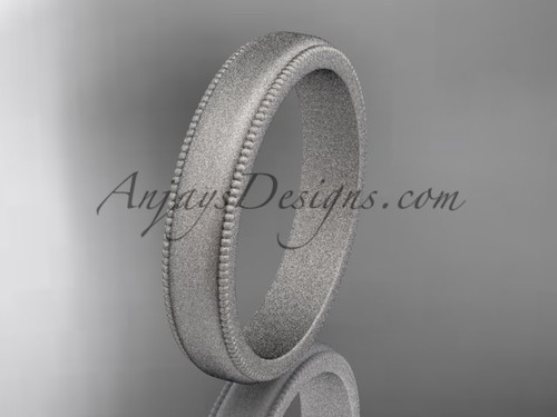 White Matte Finish Gold Milgrain Wedding Band 4mm WB50404G