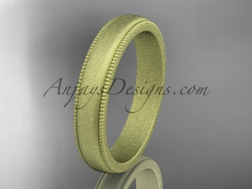 Yellow Matte Finish Gold Milgrain Wedding Band 4mm WB50404G