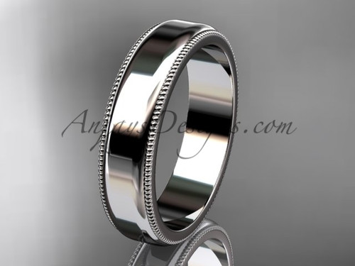 14k White Gold Milgrain Wedding Band 5mm WB50405G