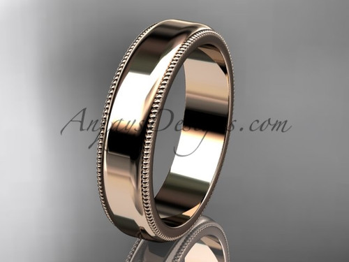 14k Rose Gold Milgrain Wedding Band 5mm WB50405G